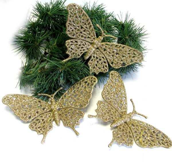 Poly-Schmetterling 17cm gold Glimmer